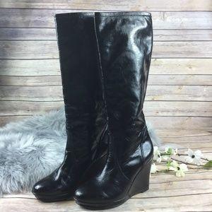 Crocs Black Leather Wedge Slip On Knee Boots